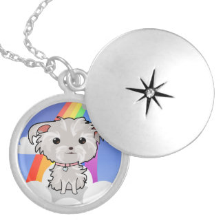 Fuzzy Puppy and Rainbow Locket Necklace