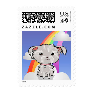Fuzzy Puppy and Rainbow Postage Stamp