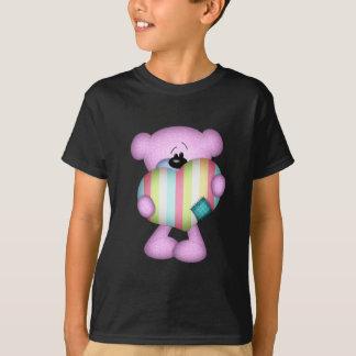 fuzzy purple stripes heart love bear T-Shirt