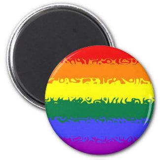 Fuzzy Rainbow Flag 2 Inch Round Magnet