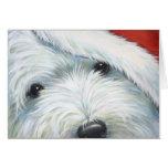 """Fuzzy Santa"" Westie Christmas card by Borgo"