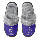 [Chef hat] keep calm and eat sausage  (Fuzzy) Slippers Pair Of Fuzzy Slippers