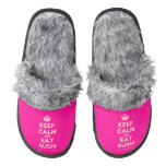 [Crown] keep calm and eat sushi  (Fuzzy) Slippers Pair Of Fuzzy Slippers