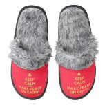 [Xmas tree] keep calm and make peace on earth  (Fuzzy) Slippers Pair Of Fuzzy Slippers