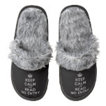 [Crown] keep calm and read no entry  (Fuzzy) Slippers Pair Of Fuzzy Slippers