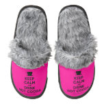 [Cup] keep calm and drink hot cocoa  (Fuzzy) Slippers Pair Of Fuzzy Slippers