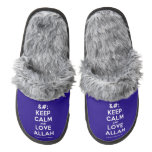 [No Crown] keep calm and love allah  (Fuzzy) Slippers Pair Of Fuzzy Slippers