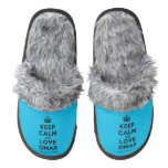 [Crown] keep calm and love omar  (Fuzzy) Slippers Pair Of Fuzzy Slippers