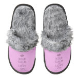 [Two hearts] keep calm and love on  (Fuzzy) Slippers Pair Of Fuzzy Slippers