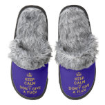 [Dancing crown] keep calm and don't give a fuck  (Fuzzy) Slippers Pair Of Fuzzy Slippers