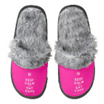 [Cupcake] keep calm and eat cake  (Fuzzy) Slippers Pair Of Fuzzy Slippers