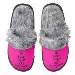 [Cupcake] keep calm and eat cupcakes  (Fuzzy) Slippers Pair Of Fuzzy Slippers