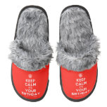 [Cupcake] keep calm its your birthday  (Fuzzy) Slippers Pair Of Fuzzy Slippers