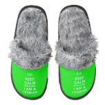 [UK Flag] keep calm because i am a lesbian  (Fuzzy) Slippers Pair Of Fuzzy Slippers
