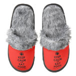 [Cutlery and plate] keep calm and eat food  (Fuzzy) Slippers Pair Of Fuzzy Slippers