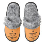 [Crown] keep calm and eat at wrapworks deli  (Fuzzy) Slippers Pair Of Fuzzy Slippers