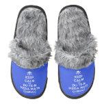 [Skull crossed bones] keep calm and du-te-n pizda matii chiriac  (Fuzzy) Slippers Pair Of Fuzzy Slippers