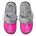 [Chef hat] keep calm and eat bacon  (Fuzzy) Slippers Pair Of Fuzzy Slippers
