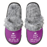 [Two hearts] keep calm and we will be back soon  (Fuzzy) Slippers Pair Of Fuzzy Slippers