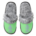 [Crown] keep calm and eat cake  (Fuzzy) Slippers Pair Of Fuzzy Slippers