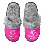 keep calm and fight like a girl  (Fuzzy) Slippers Pair Of Fuzzy Slippers