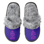 [Dancing crown] keep calm and love music  (Fuzzy) Slippers Pair Of Fuzzy Slippers