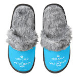 [Crown] keep calm and watch brady win  (Fuzzy) Slippers Pair Of Fuzzy Slippers
