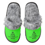 [Crown] keep calm que o jacinto é o boss  (Fuzzy) Slippers Pair Of Fuzzy Slippers
