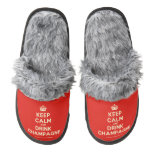 [Crown] keep calm and drink champagne  (Fuzzy) Slippers Pair Of Fuzzy Slippers