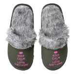 [Two hearts] keep calm and love sheyanne  (Fuzzy) Slippers Pair Of Fuzzy Slippers