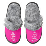 [Crown] keep calm and make it easy  (Fuzzy) Slippers Pair Of Fuzzy Slippers