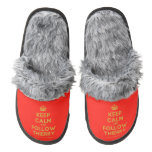 [Crown] keep calm and follow thierry  (Fuzzy) Slippers Pair Of Fuzzy Slippers