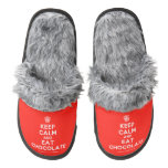 [Cupcake] keep calm and eat chocolate  (Fuzzy) Slippers Pair Of Fuzzy Slippers