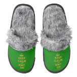 [Knitting crown] keep calm and knit on  (Fuzzy) Slippers Pair Of Fuzzy Slippers