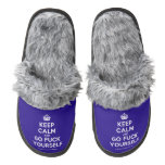 [Crown] keep calm and go fuck yourself  (Fuzzy) Slippers Pair Of Fuzzy Slippers