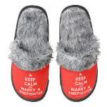[Campfire] keep calm and marry a firefighter  (Fuzzy) Slippers Pair Of Fuzzy Slippers
