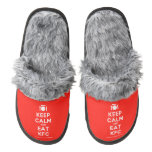 [Cutlery and plate] keep calm and eat kfc  (Fuzzy) Slippers Pair Of Fuzzy Slippers