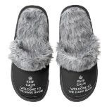 [Crown] keep calm and welcome to the dark room  (Fuzzy) Slippers Pair Of Fuzzy Slippers