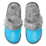 [Crown] keep calm and pray on  (Fuzzy) Slippers Pair Of Fuzzy Slippers