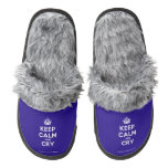 [Crown] keep calm and cry  (Fuzzy) Slippers Pair Of Fuzzy Slippers