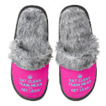 [Crown] eat clean train mean and get lean  (Fuzzy) Slippers Pair Of Fuzzy Slippers