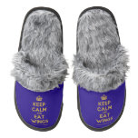 [Crown] keep calm and eat wings  (Fuzzy) Slippers Pair Of Fuzzy Slippers