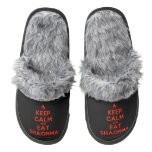 [Campfire] keep calm and eat shaorma  (Fuzzy) Slippers Pair Of Fuzzy Slippers