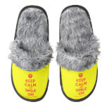[Smile] keep calm and smile on  (Fuzzy) Slippers Pair Of Fuzzy Slippers