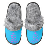 [Crown] keep calm and stay awesome  (Fuzzy) Slippers Pair Of Fuzzy Slippers