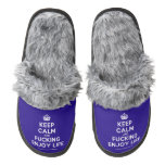 [Crown] keep calm and fucking enjoy life  (Fuzzy) Slippers Pair Of Fuzzy Slippers