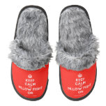 [Crown] keep calm and pillow fight on  (Fuzzy) Slippers Pair Of Fuzzy Slippers