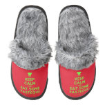 [Chef hat] keep calm and eat some pasteque  (Fuzzy) Slippers Pair Of Fuzzy Slippers