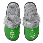 [Crown] keep calm and walk on  (Fuzzy) Slippers Pair Of Fuzzy Slippers