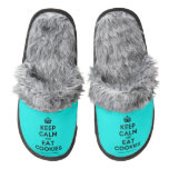 [Crown] keep calm and eat cookies  (Fuzzy) Slippers Pair Of Fuzzy Slippers